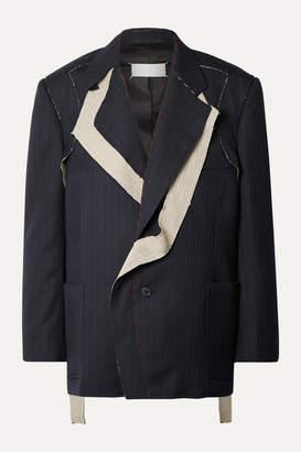 Maison Margiela Pinstriped Wool Blazer - Navy