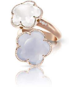 Pasquale Bruni Bon Ton 18k Rose Gold Chalcedony & Quartz Ring, Size 7
