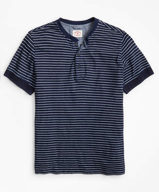 Brooks Brothers Indigo Feeder-Stripe Short-Sleeve Henley