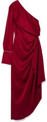 Monse One-shoulder Satin Gown - Crimson