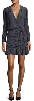 Veronica Beard Lou Lou Silk Polka-Dot Flounce Dress, Black/White/Blue $495 thestylecure.com