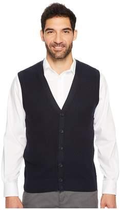Perry Ellis Solid Textured Button Front Sweater Vest Men's Vest