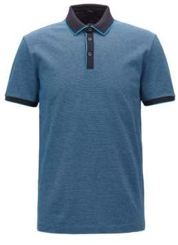 Hugo Boss Slim-fit polo shirt in three-colored mercerized cotton XL Open Blue
