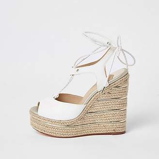 35f6d8e95 River Island White tie up espadrille wedges