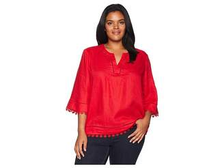 Lauren Ralph Lauren Plus Size Lace-Trim Tissue Linen Top