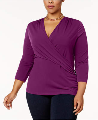 Charter Club Plus Size Faux-Wrap Hardware Top, Created for Macy's