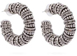 Saint Laurent Crystal And Bead Embellished Chunky Hoop Earrings - Womens - Silver