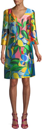 Mary Katrantzou V-Neck 3/4-Sleeve Geometric Floral-Print A-Line Dress