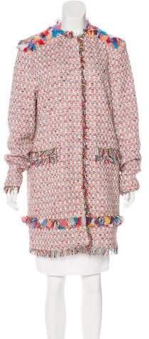 MSGM Raw-Edged Tweed Coat