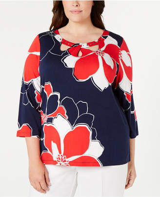Alfred Dunner Plus Size In The Navy Printed Top
