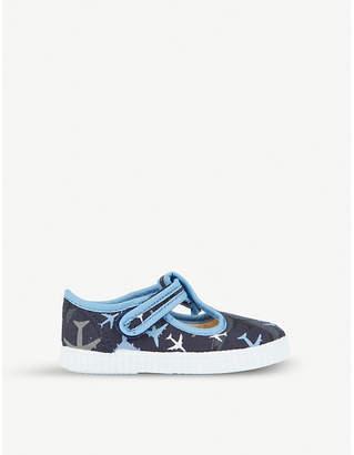 e28d2a7c5f68 STEP2WO Mitch plane-print canvas t-bar shoes 6 months – 7 years