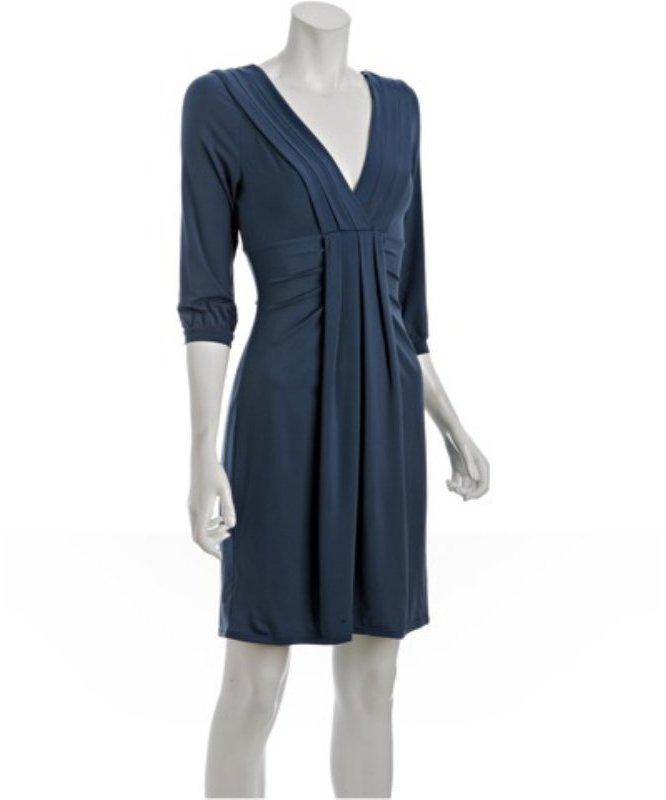 BCBGMAXAZRIA china blue jersey pleated double v-neck dress