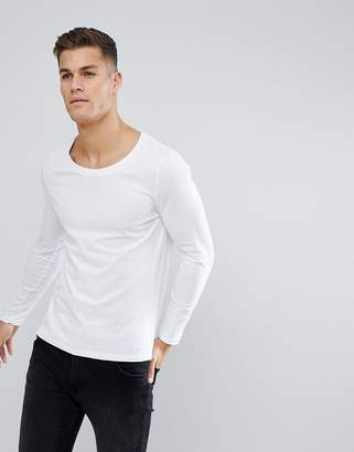 Asos DESIGN long sleeve t-shirt with scoop neck in white