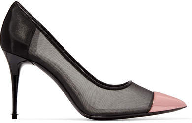 TOM FORD - Metallic Leather And Mesh Pumps - Black