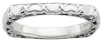 Simply Stacks Sterling Polished Heart Square Band Ring
