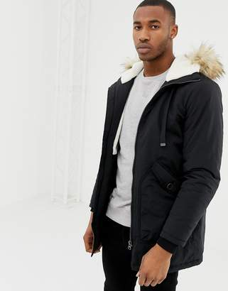 Pull&Bear fleece lined parka in black with fur trim hood