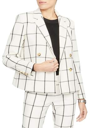 Rachel Roy COLLECTION Grid Pattern Double Breasted Crop Jacket