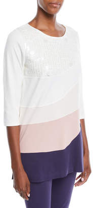 Joan Vass Ballet-Neck 3/4-Sleeve Colorblock Tunic w/ Sequin Detail