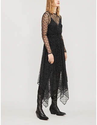 Maje Glitter-embroidered floral-lace dress