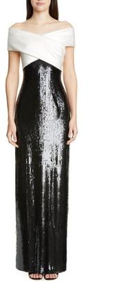St. John Layered Sequin Silk Georgette Gown