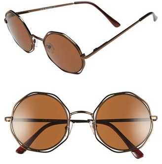 Women's A.j. Morgan 'Clayton' 48Mm Octagon Wire Sunglasses - Bronze $24 thestylecure.com