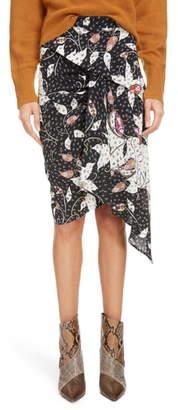 Isabel Marant Floral Print Drape Detail Stretch Silk Skirt