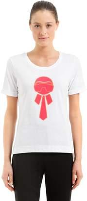 Fendi Karlito Glitter Print Jersey T-Shirt