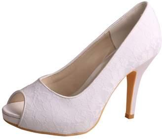 Wedopus MW529 Women's Open Toe Platform High Heel Lace Bride Wedding Shoes