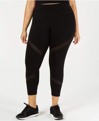 Calvin Klein Plus Size High-Waist Mesh-Trimmed Leggings