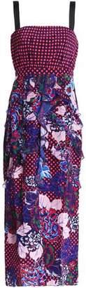 Saloni Bead-Embellished Printed Crepe Midi Dress