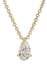 Ileana Makri Women's Teardrop Pendant Necklace-Yellow Gold