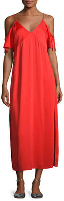 Alexander Wang Stretch Crepe Cold-Shoulder Midi Dress, Scarlet