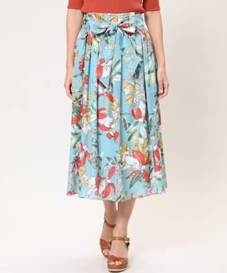 INED (イネド) - INED 【春の新作】フラワープリントギャザースカート