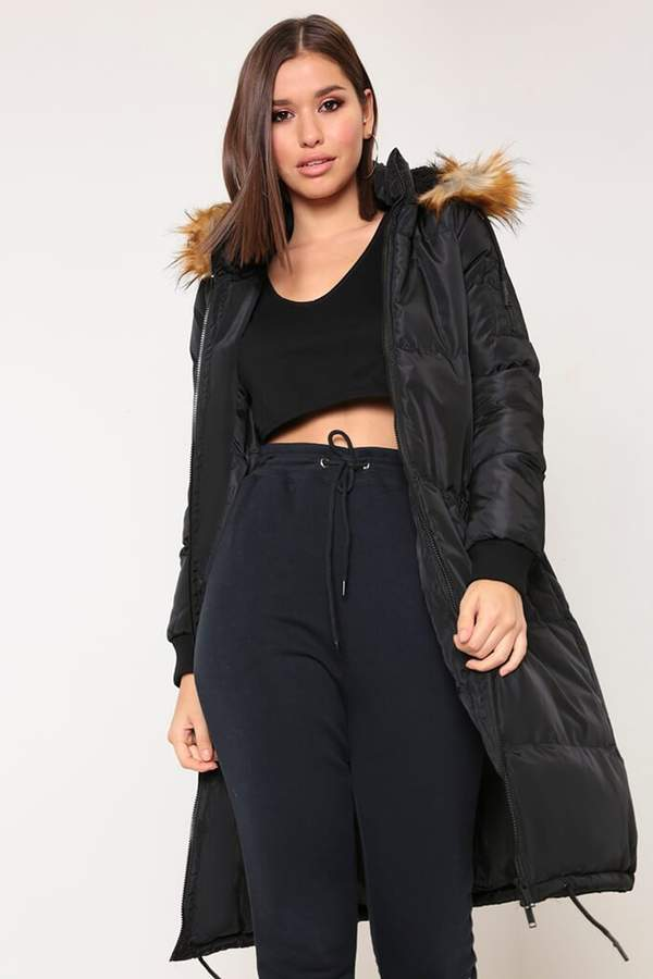 Isawitfirst Black Faux Fur Trim Hooded Midi Padded Jacket
