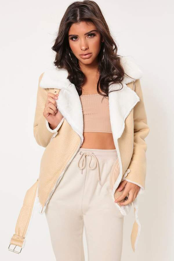 Isawitfirst Nude Faux Fur Lined Soft Aviator Jacket