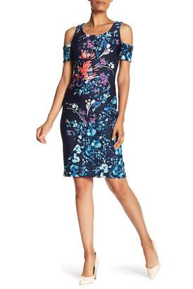 Rachel Roy Floral Print Scuba Cold Shoulder Dress