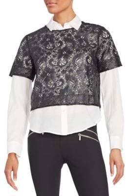Elizabeth and James Carnie Layered Lace & Solid Shirt