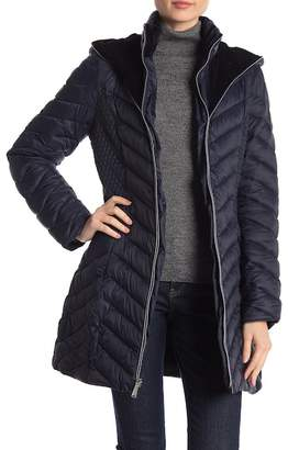 Laundry by Shelli Segal Velvet Lined Hooded Puffer Jacket