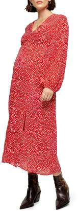 Topshop MATERNITY Red Ditsy Button Midi Dress