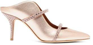 Malone Souliers Maureen Crystal Embellished Metallic Leather Mules - Womens - Rose Gold