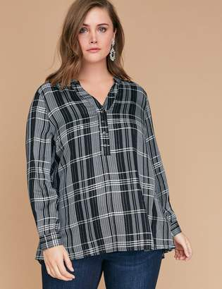 Lane Bryant Sequin Plaid Swing Popover Shirt