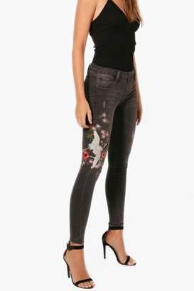 boohoo Imani Oriental Embroidered Skinny Jeans