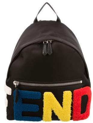 Fendi 2015 Logo Patches Nylon & Shearling Backpack w/ Tags
