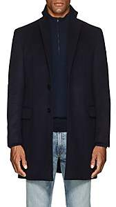 Sanyo Men's Water-Repellent Brushed Wool Melton Coat-Midnight Navy
