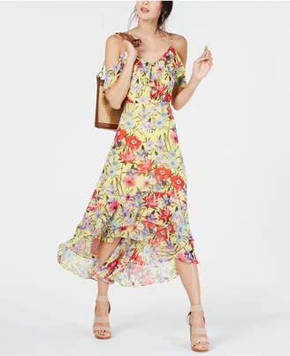 INC International Concepts I.n.c. Floral Cold-Shoulder Midi Dress