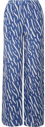 Double Rainbouu - Printed Washed-satin Wide-leg Pants - Blue