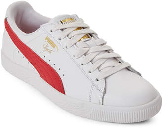 Puma White & Cherry Clyde Core Sneakers