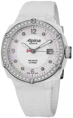 Alpina Avalanche Extreme White Dial Rubber Strap Ladies Watch