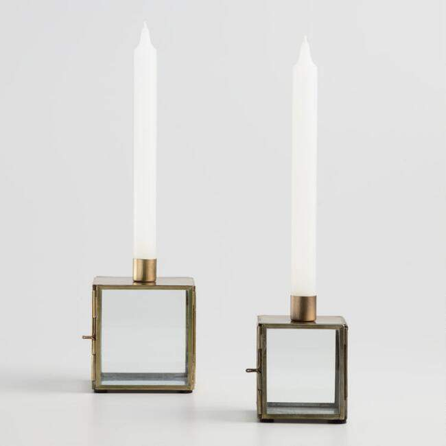 Antiqued Brass Terrarium Taper Candleholder