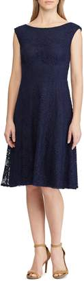 Chaps Lace Fit--Flare Dress